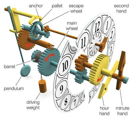 The main components of a weight-driven clock with a pendulum