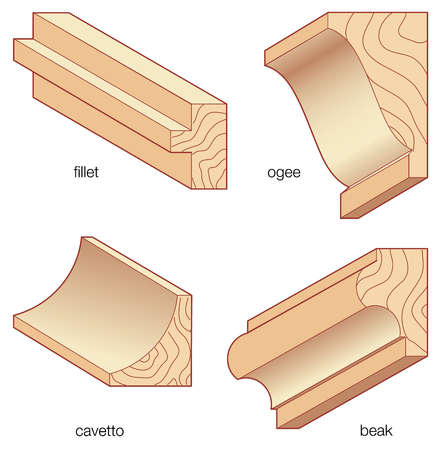 Stock Illustration - Types of common architectural molding styles
