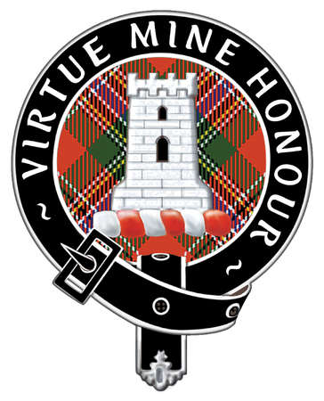 """The badge of Clan MacLean, which reads, """"Virtue Mine Honour"""""""