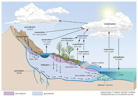 In the hydrologic cycle, water is transferred between the land surface, the ocean, and the atmosphere