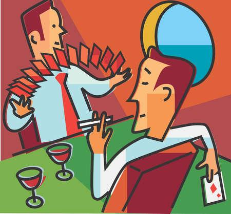 Men playing cards, drinking and smoking