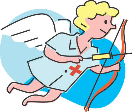 Cupid shooting syringe-shaped arrow