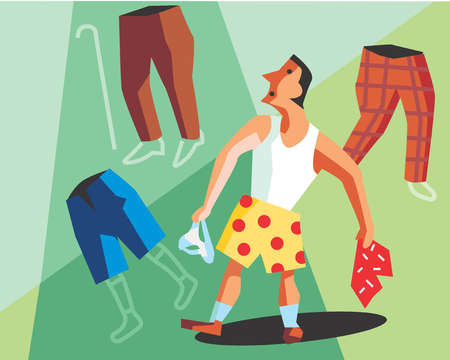 Man deciding what pants to wear