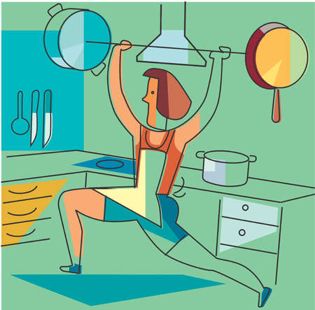 Housewife lifting barbell in kitchen