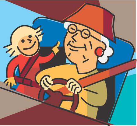 Grandmother driving granddaughter in car