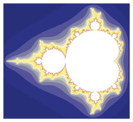 In the Mandelbrot set, points remaining finite through all iterations are white Values diverging to infinity are shown darker