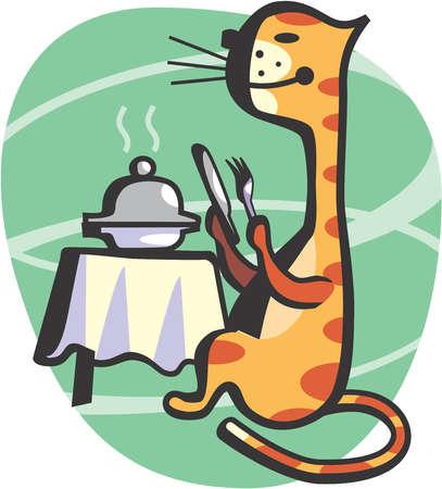 Cat preparing to eat gourmet meal