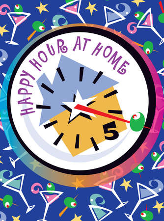 Clock with text - happy hour at home