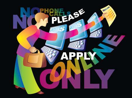 Woman applying for job online