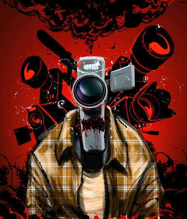 Man with a video-camera head