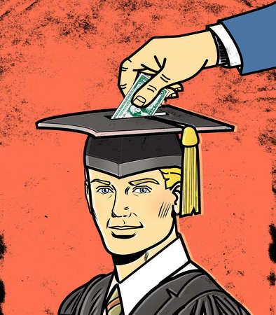 Graduate with piggy bank hat