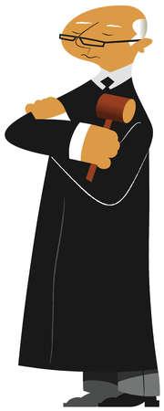 Stern judge holding gavel