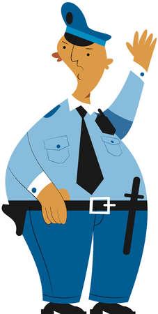 Security guard raising hand