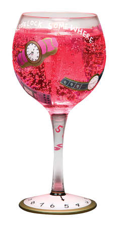Painted designs on a margarita glass