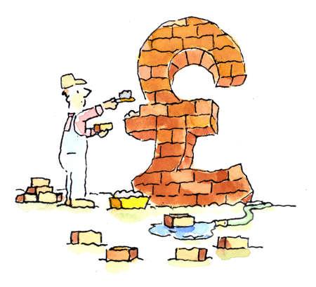 Bricklayer forming brick British pound symbol