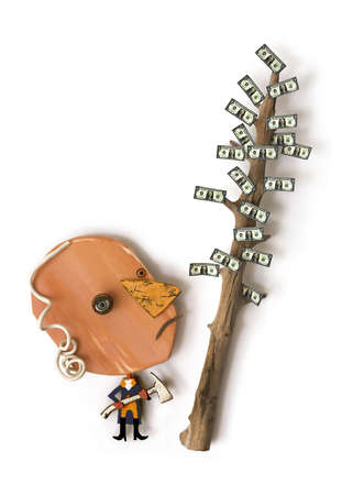 Man with axe looking at money tree