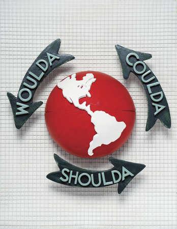 'Coulda,' 'Woulda' and 'Shoulda' text on arrows circling globe
