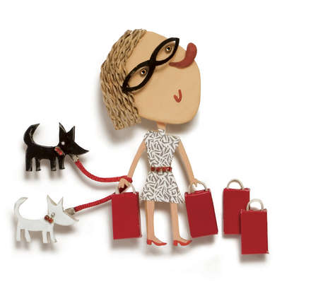 Woman carrying shopping bags and walking dogs
