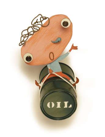 Man riding oil barrel
