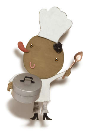 Chef holding spoon and pot
