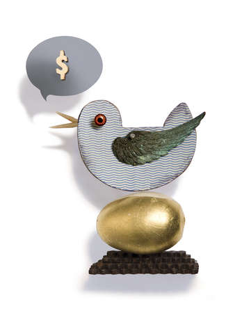 Bird on golden egg with dollar sign in speech bubble