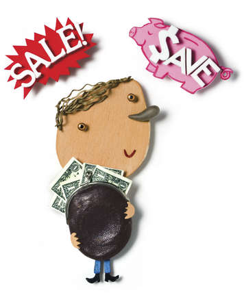 Man holding money in coin purse under 'Sale' and 'Save' text