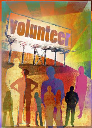 People standing below 'Volunteer' billboard