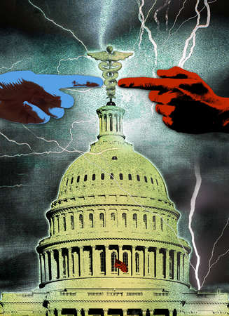 Red and blue fingers pointing at caduceus on Capitol Building