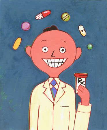 Pills floating over pharmacist holding prescription bottle