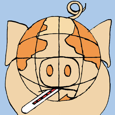 Thermometer in mouth of pig with globe head
