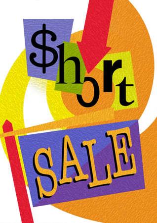 Downward arrow over 'Short Sale' sign