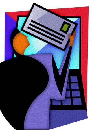 Businessman holding envelope at computer