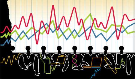Business people below line graph