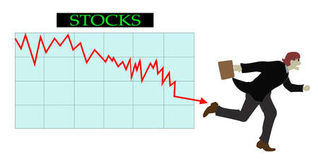 Businessman running from descending arrow on stocks graph