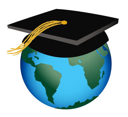 Mortarboard on globe