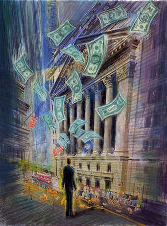 Money falling on Wall Street
