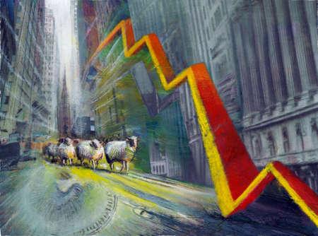 Sheep walking on street below descending line graph