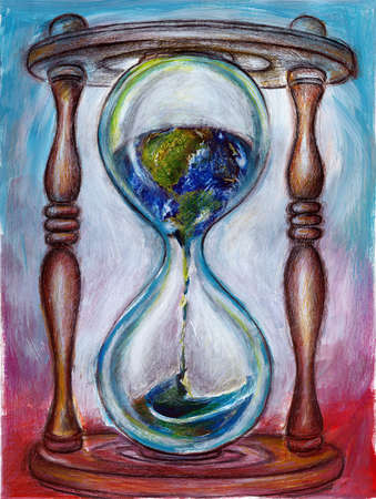 Globe dripping in hourglass