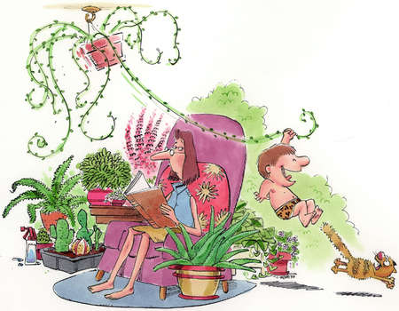 Woman reading in an armchair surrounded by house plants, while her son swings Tarzan-style from a hanging plant's tendril frightening a cat