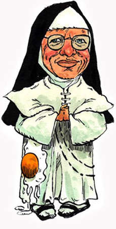 Nun with egg on her habit