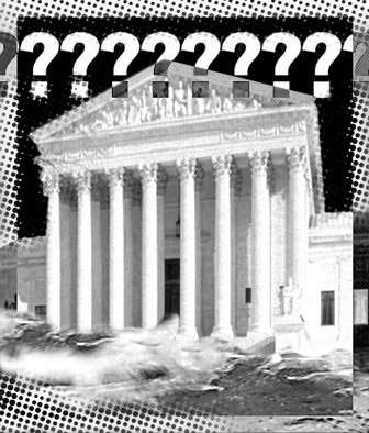 Supreme Court building with question marks superimposed over it