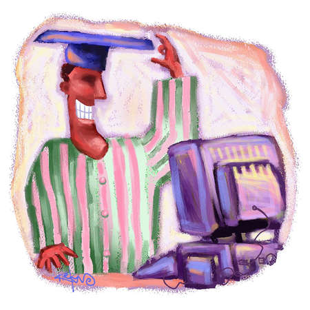 Man in pajamas wearing a graduation cap and standing in front of a computeronline colleges