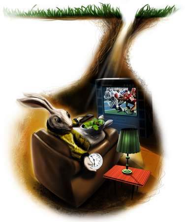 Rabbit relaxing in lounge chair with bowl of salad holding timepiece and remote control while watching football on television in his rabbit hole den