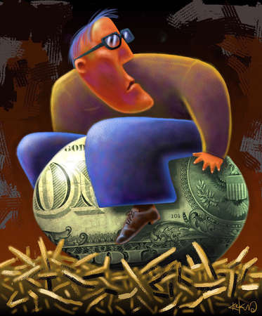 Man sitting on his 'nest egg' which has dollar bill imprint on it