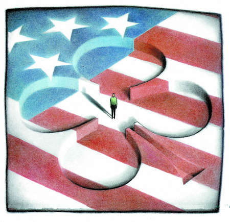 U.S. flag with four-leaf clover sunken into it and a man standing inside the clover