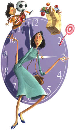 Working mother juggling child, groceries and cleaning in front of a clock
