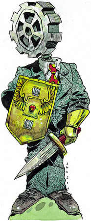Figure with a gear-head in business attire ready for battle holding sword and shield