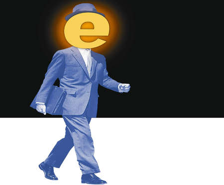 Walking businessman whose head has been replaced with a glowing 'e'
