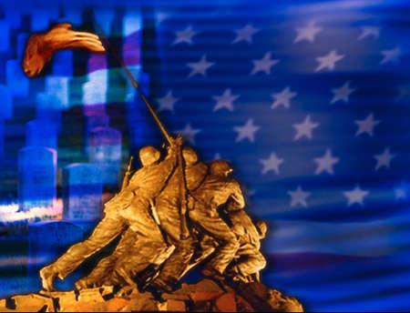 Iwo Jima memorial superimposed on U.S. flag