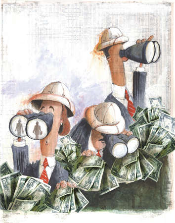 Group of businesspeople wearing pith helmets and situated behind bushes of money looking through binoculars for new employees, representing employee headhunters